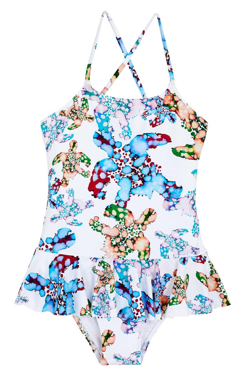 VILEBREQUIN Vilbrequin Watercolor Turtles Peplum One-Piece Swimsuit, Main, color, 010 BLANC