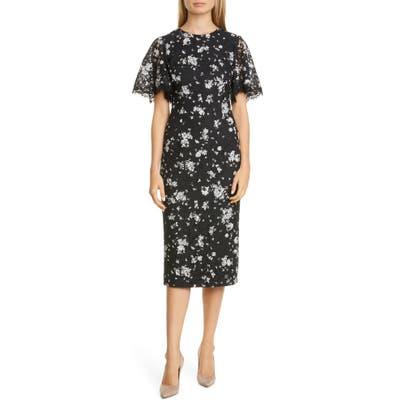 Lela Rose Print Lace Midi Sheath Dress, Black