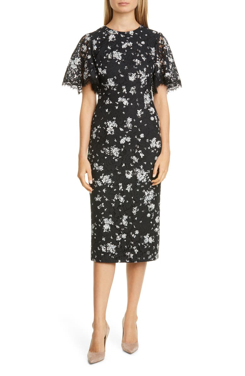 LELA ROSE Print Lace Midi Sheath Dress, Main, color, BLACK MULTI