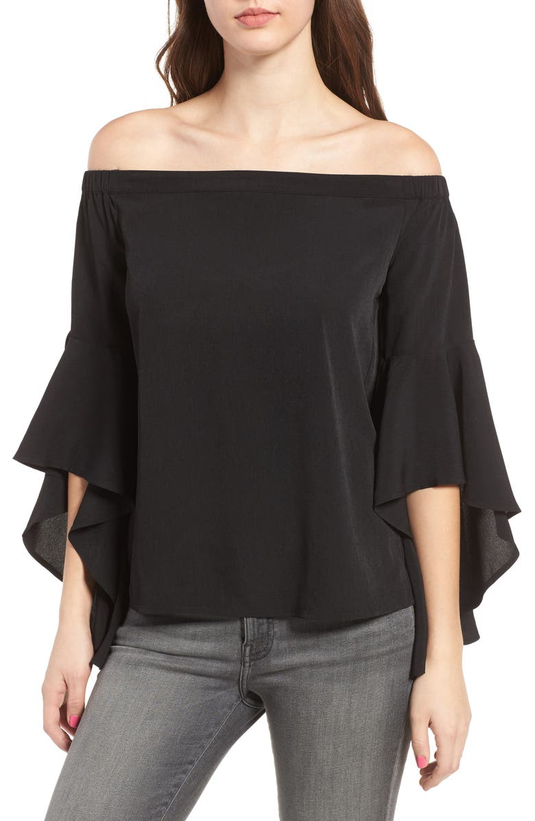 CHELSEA28 Bell Sleeve Off the Shoulder Top, Main, color, 001