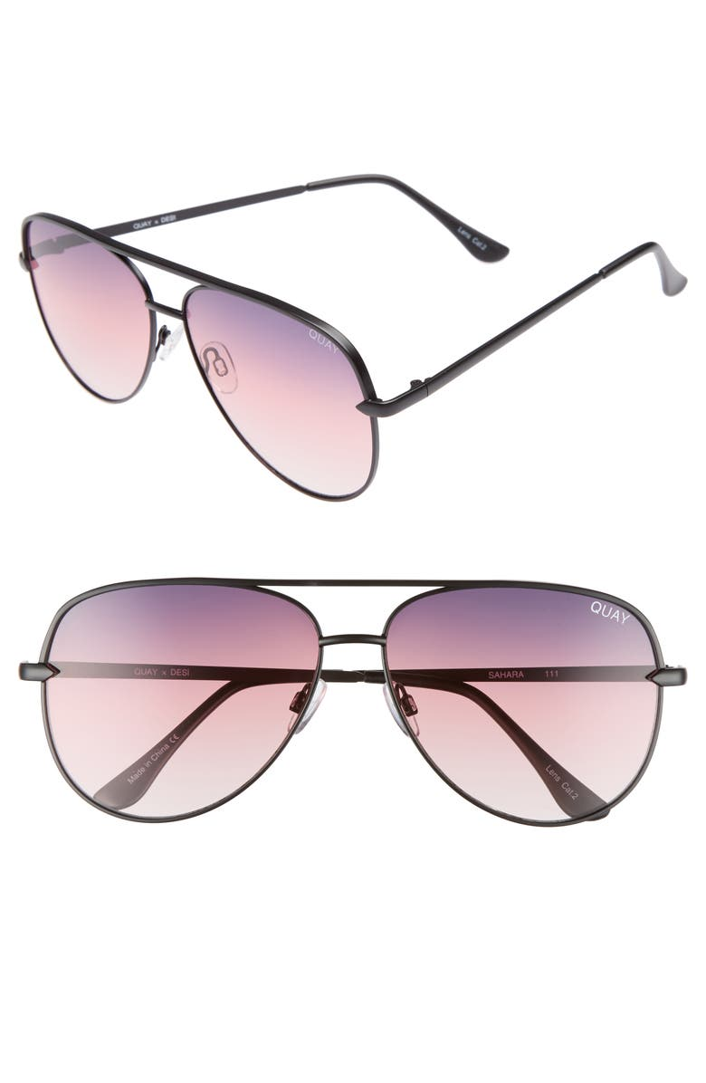 QUAY AUSTRALIA x Desi Perkins Sahara 60mm Aviator Sunglasses, Main, color, 001