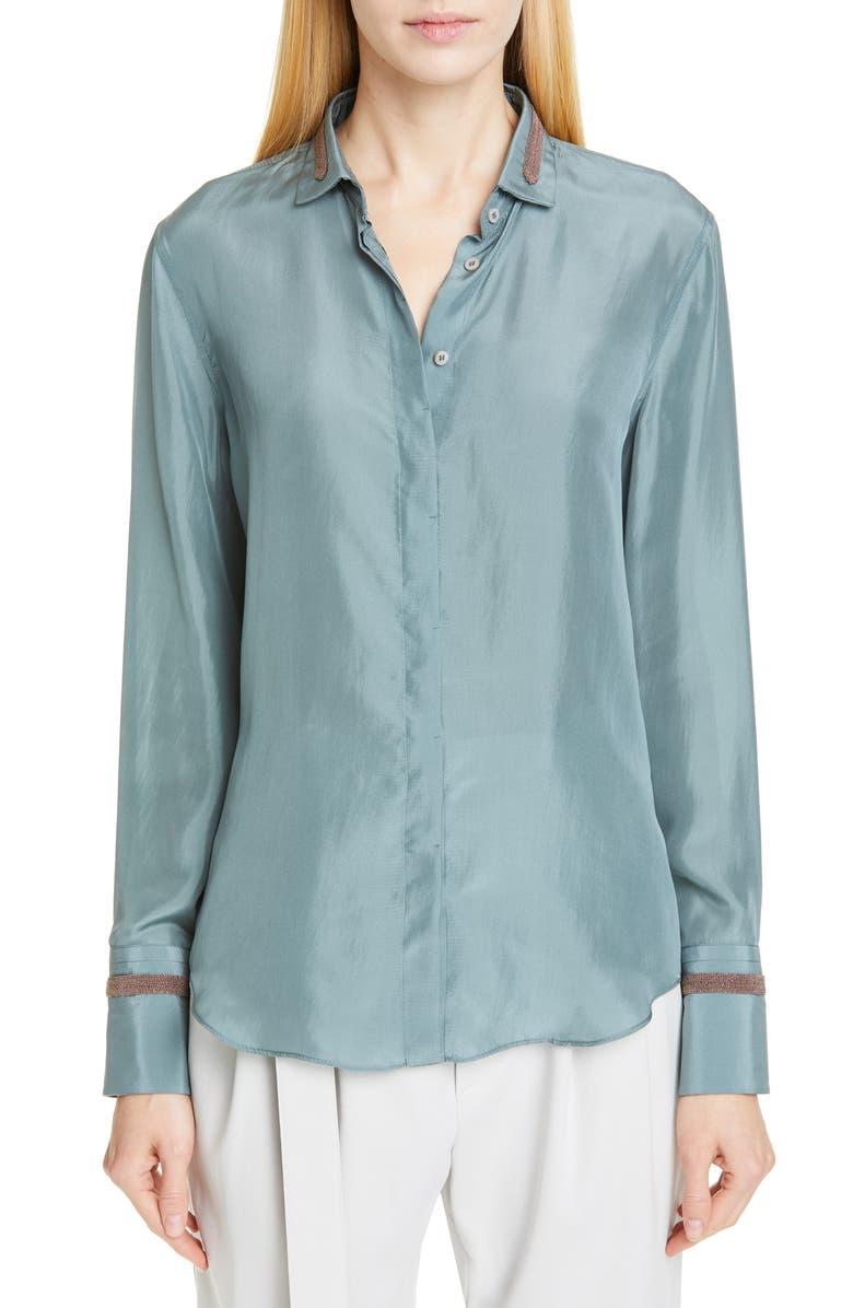 BRUNELLO CUCINELLI Monili Detail Silk Blouse, Main, color, SAGE