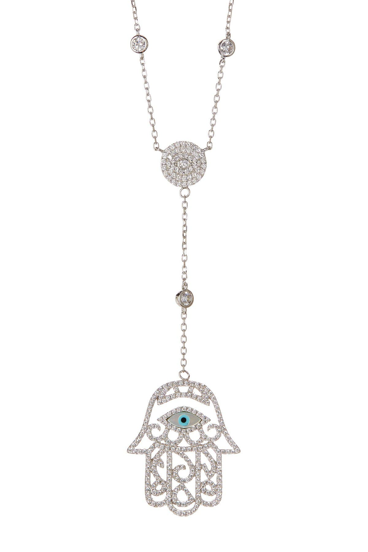 Image of Savvy Cie Italian Simulated White Topaz Mother of Pearl Hamsa Pendant Necklace