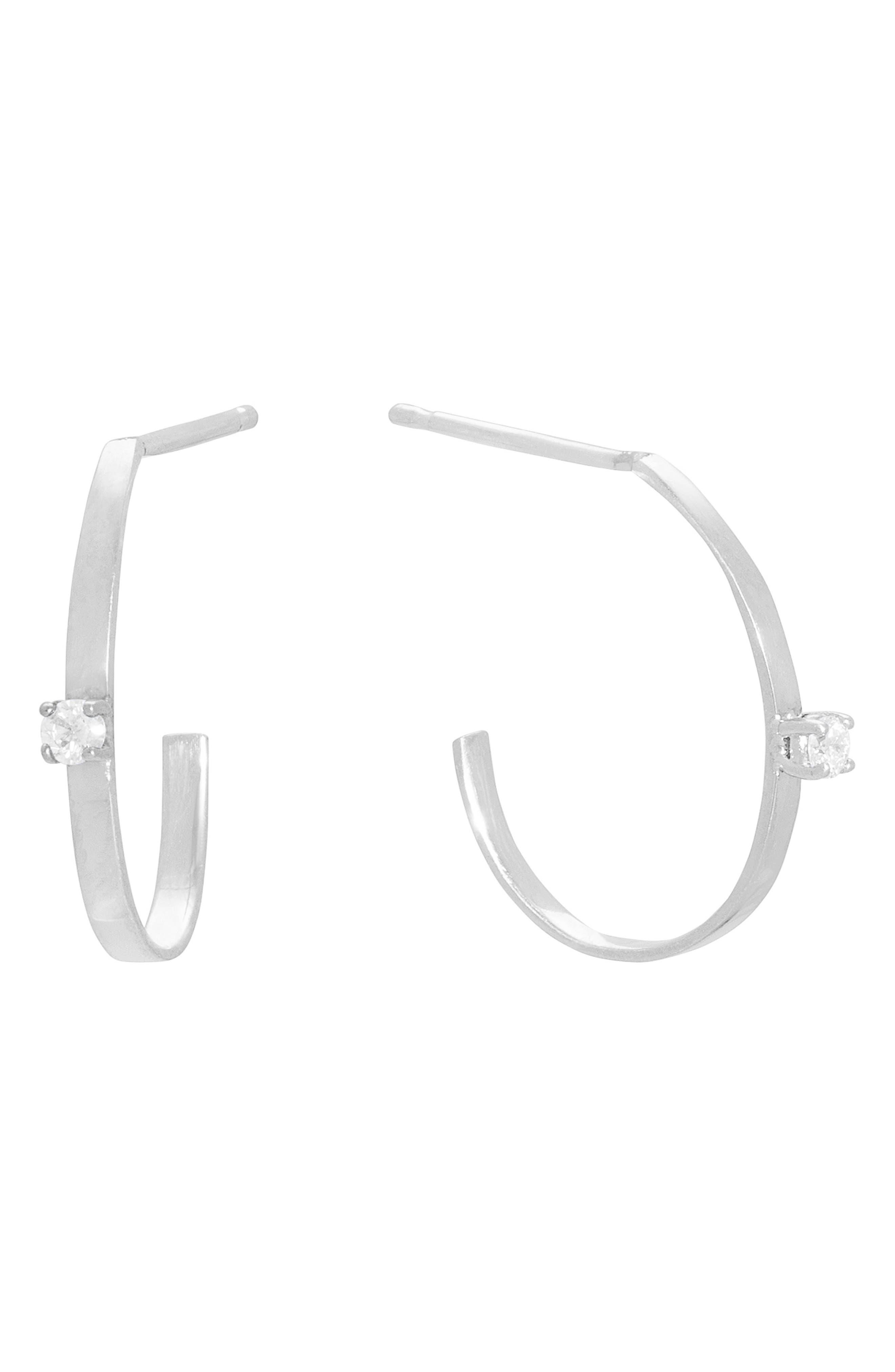 Flat Solo Oval Diamond Hoop Earrings