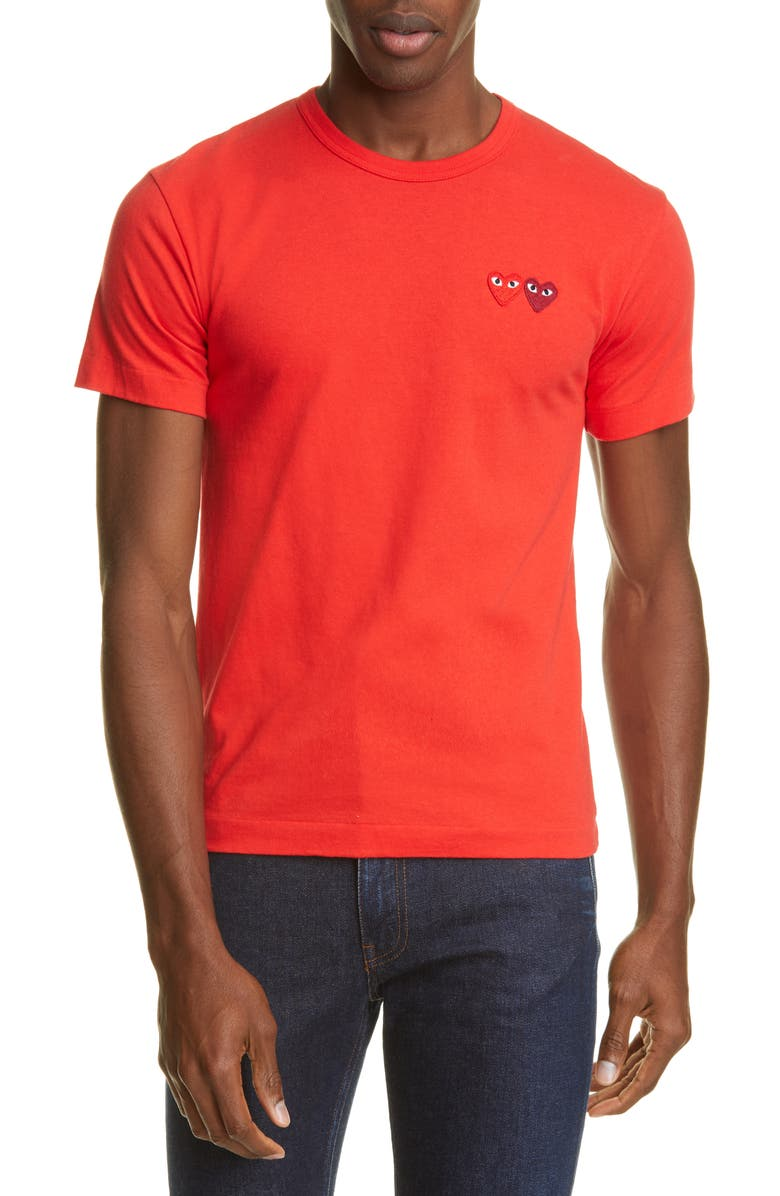 COMME DES GARÇONS PLAY Twin Hearts Appliqué T-Shirt, Main, color, RED