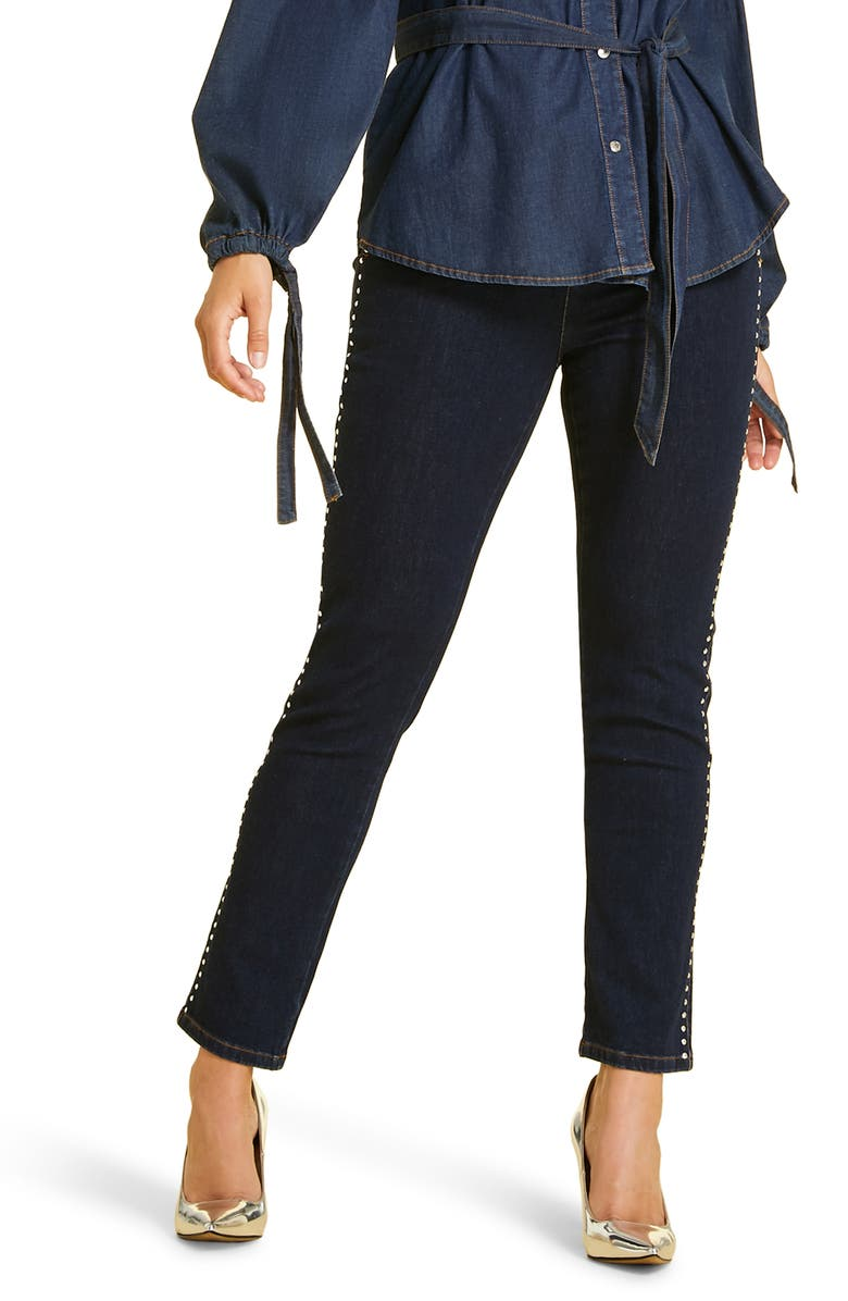 MARINA RINALDI Idioma Studded Skinny Jeans, Main, color, NAVY BLUE