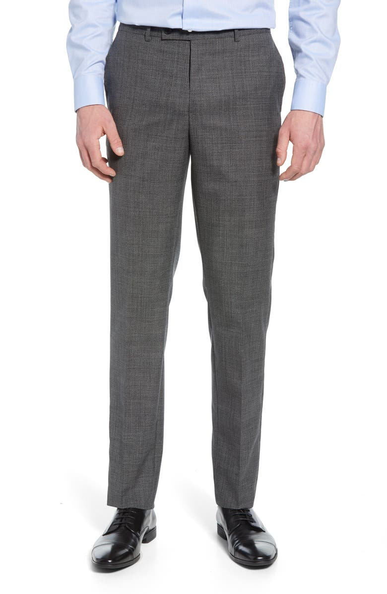 NORDSTROM MEN'S SHOP Slim Fit Flat Front Houndstooth Wool Trousers, Main, color, 001