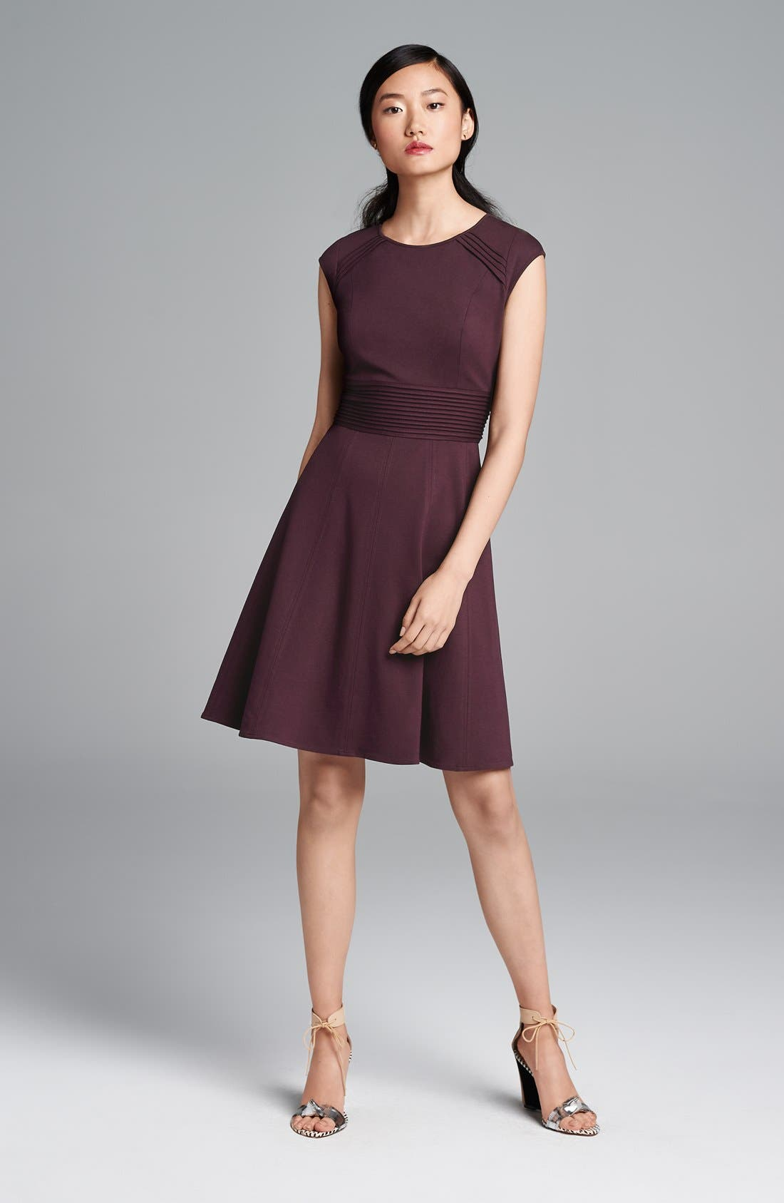 ,                             Pintucked Waist Seamed Ponte Knit Fit & Flare Dress,                             Main thumbnail 1, color,                             950