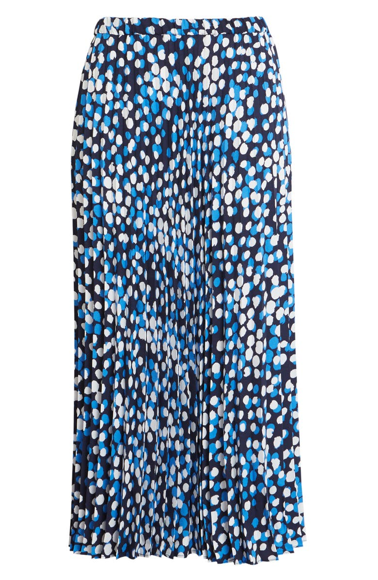 HALOGEN<SUP>®</SUP> Pleated Midi Skirt, Main, color, NAVY- BLUE DOT