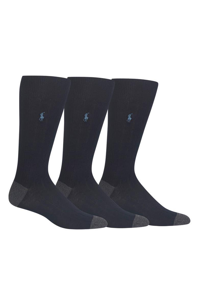 POLO RALPH LAUREN 3-Pack Ribbed Socks, Main, color, NAVY