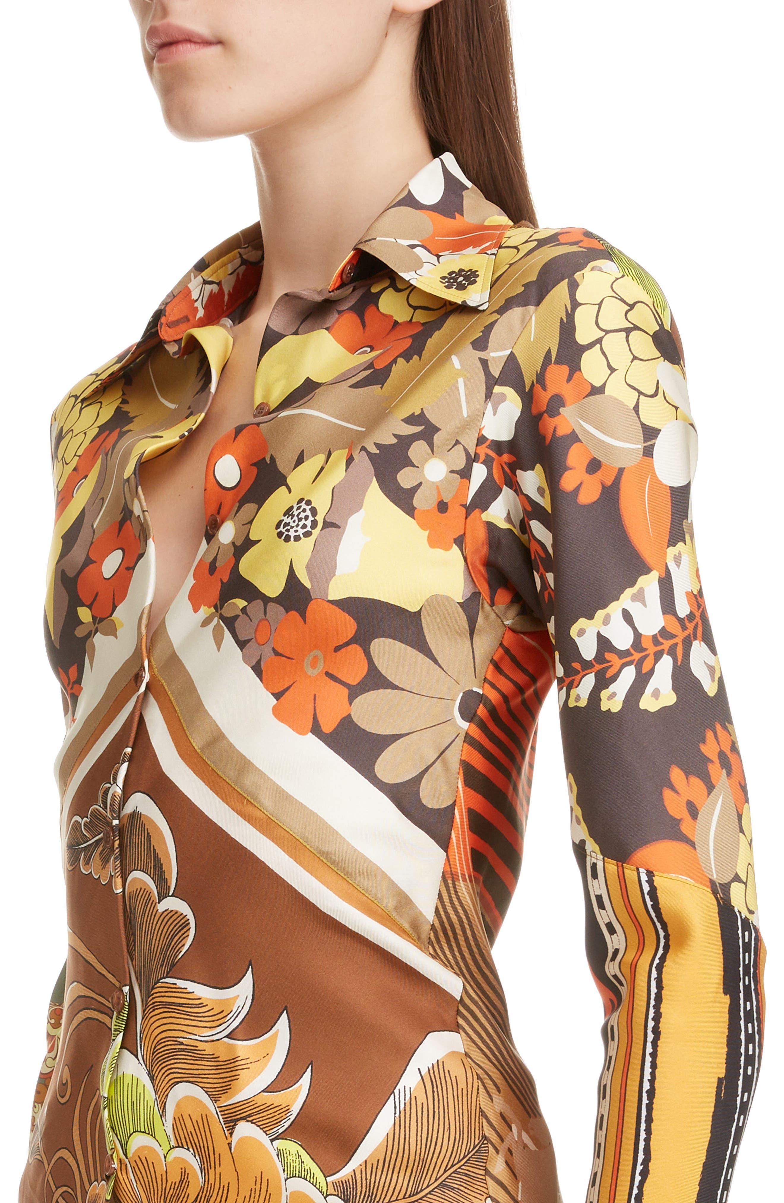 ,                             Caravan Print Silk Tunic Shirt,                             Alternate thumbnail 4, color,                             MULTICOLOR ORANGE
