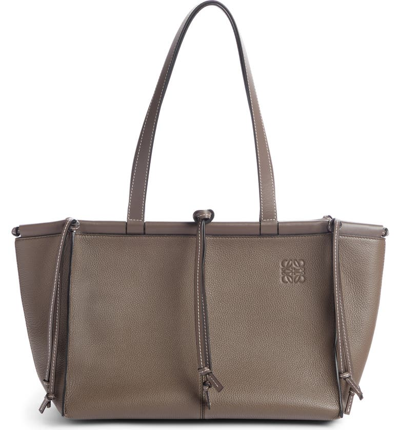 LOEWE Cushion Leather Convertible Gusset Tote, Main, color, DARK TAUPE