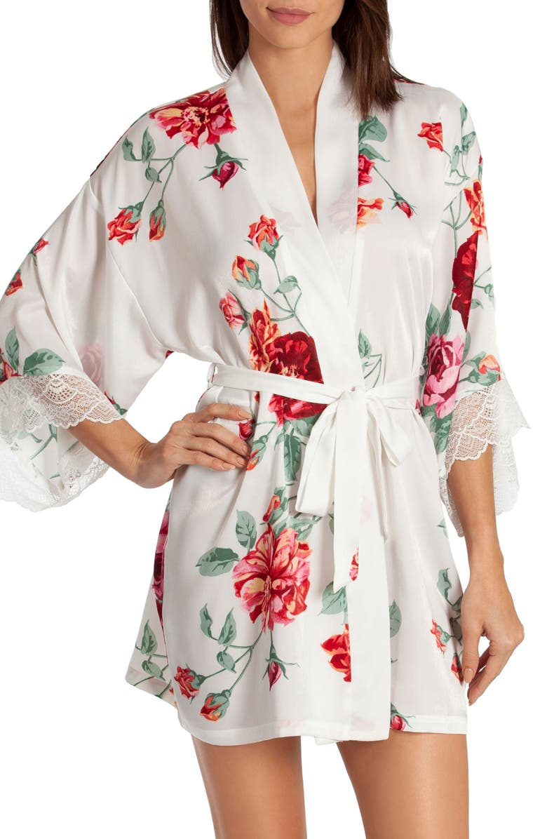 IN BLOOM BY JONQUIL Floral Print Short Wrap, Main, color, ROSE PRINT-OFF/ WHITE