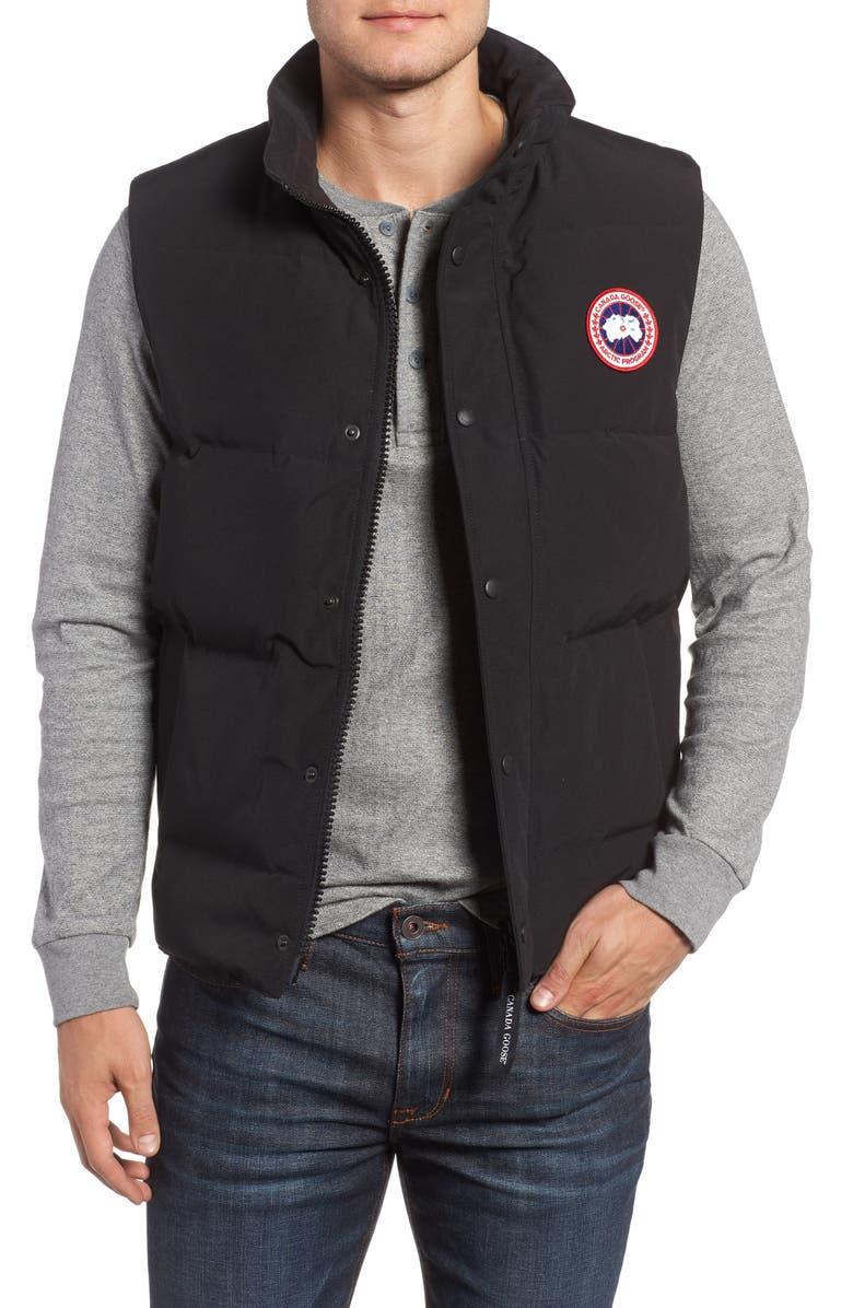 CANADA GOOSE Garson Regular Fit Quilted Down Vest, Main, color, BLACK
