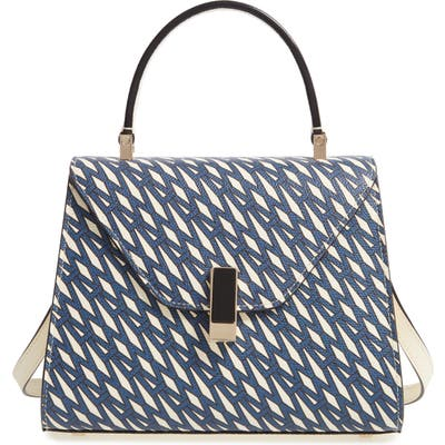 Valextra Mini Iside Monogram Leather Top Handle Bag - Blue