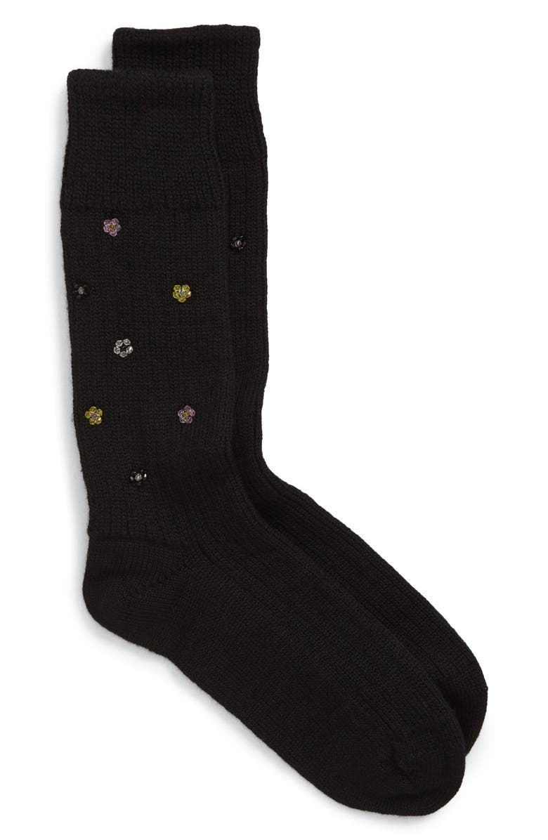 CECILIE BAHNSEN Ulla Beaded Socks, Main, color, BLACK/ YELLOW