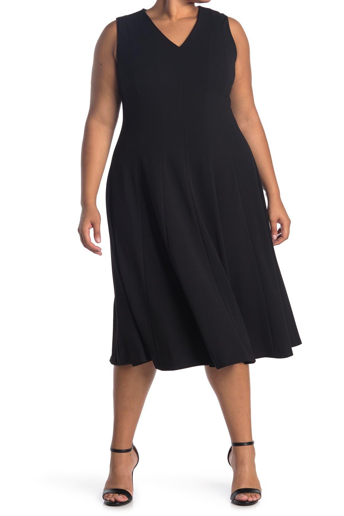 Image of Calvin Klein Sleeveless Fit & Flare Midi Dress