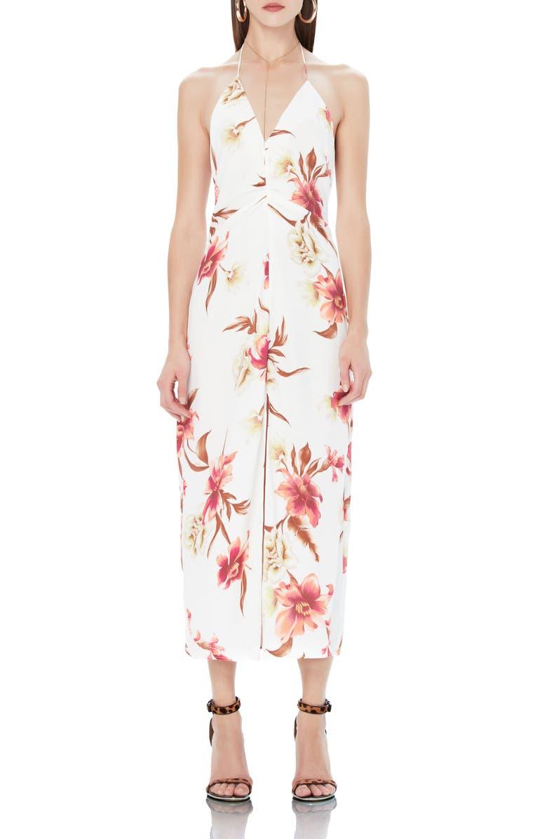 AFRM Cherry Halter Midi Dress, Main, color, BLANC TROPICAL