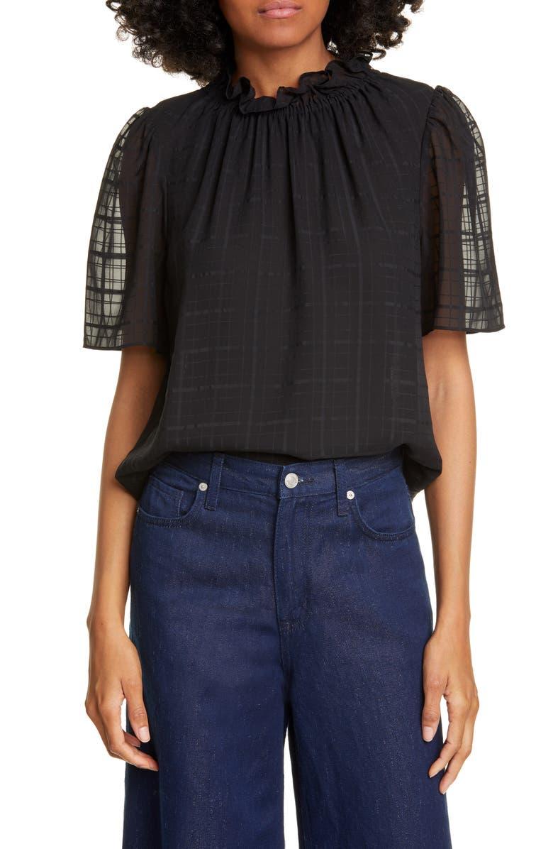 REBECCA TAYLOR Daybreak Short Sleeve Silk Top, Main, color, BLACK