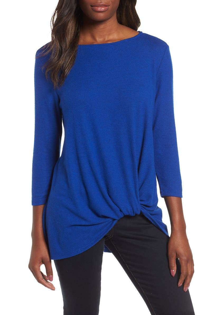 GIBSON Cozy Twist Front Pullover, Main, color, BLUE MAZE