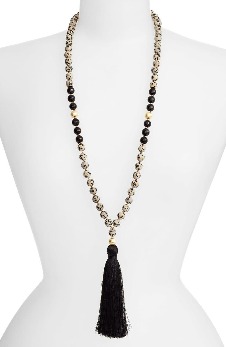 LOVE'S AFFECT Love's Affect Elle Semiprecious Stone Tassel Necklace, Main, color, 001