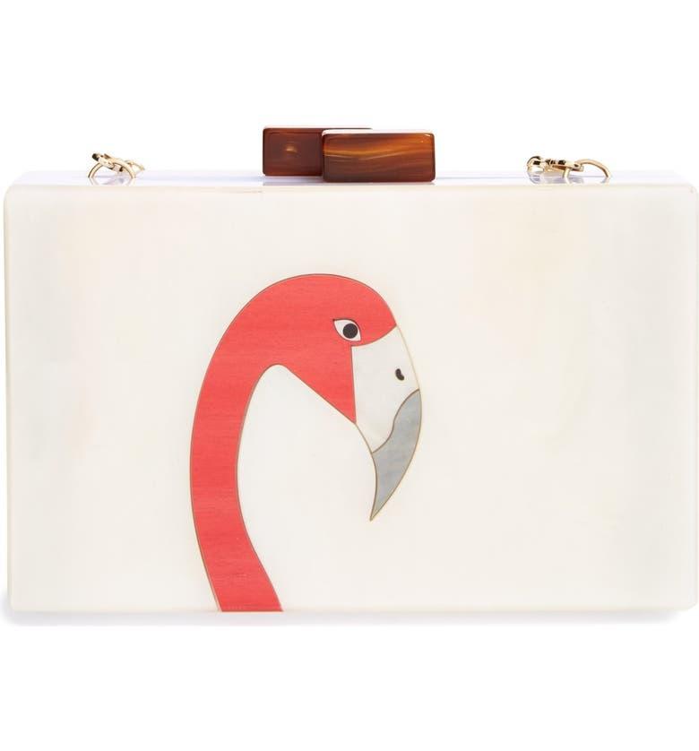 NATASHA COUTURE 'Flamingo' Clutch, Main, color, 600