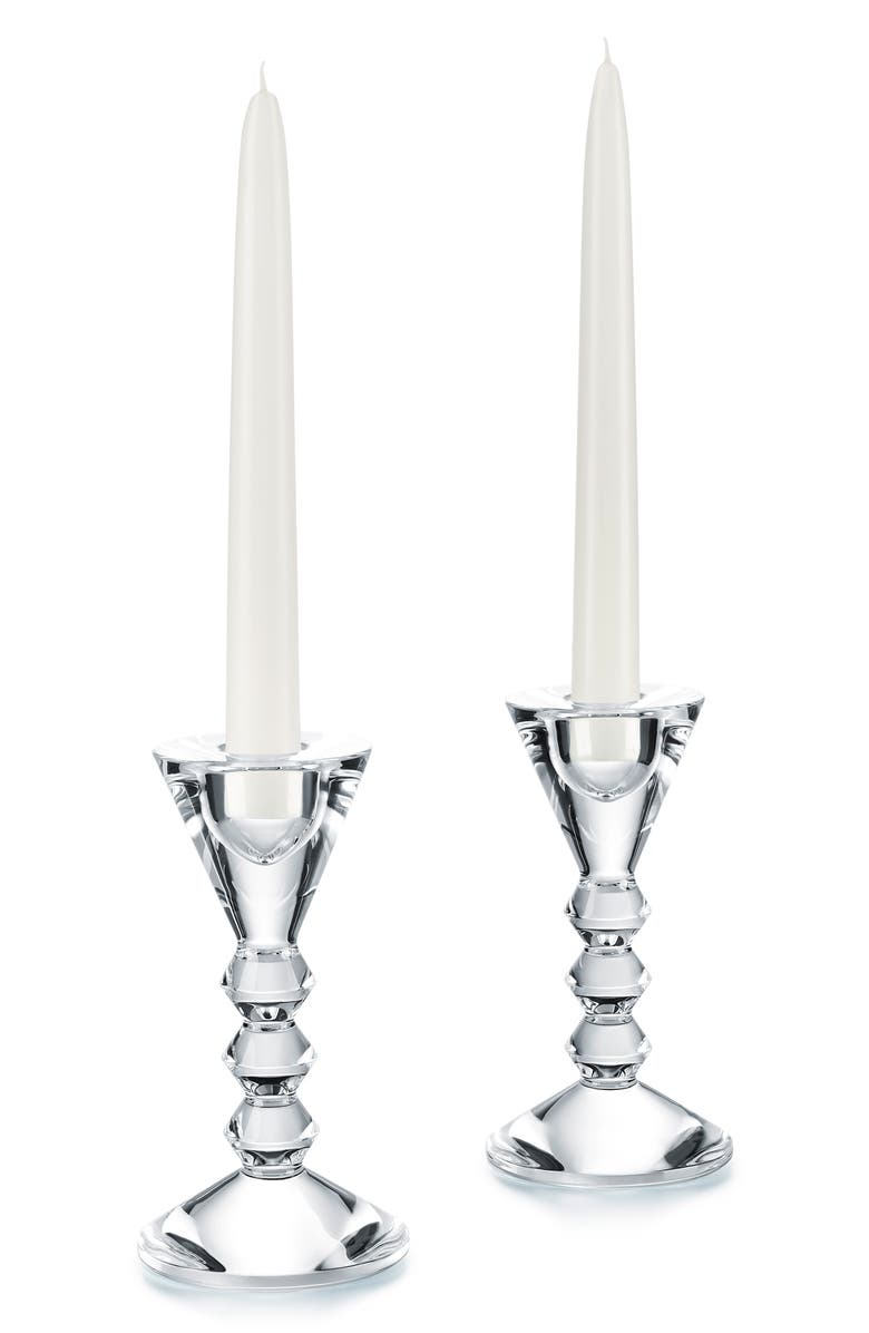 BACCARAT Véga Set of 2 Lead Crystal Candlesticks, Main, color, CLEAR