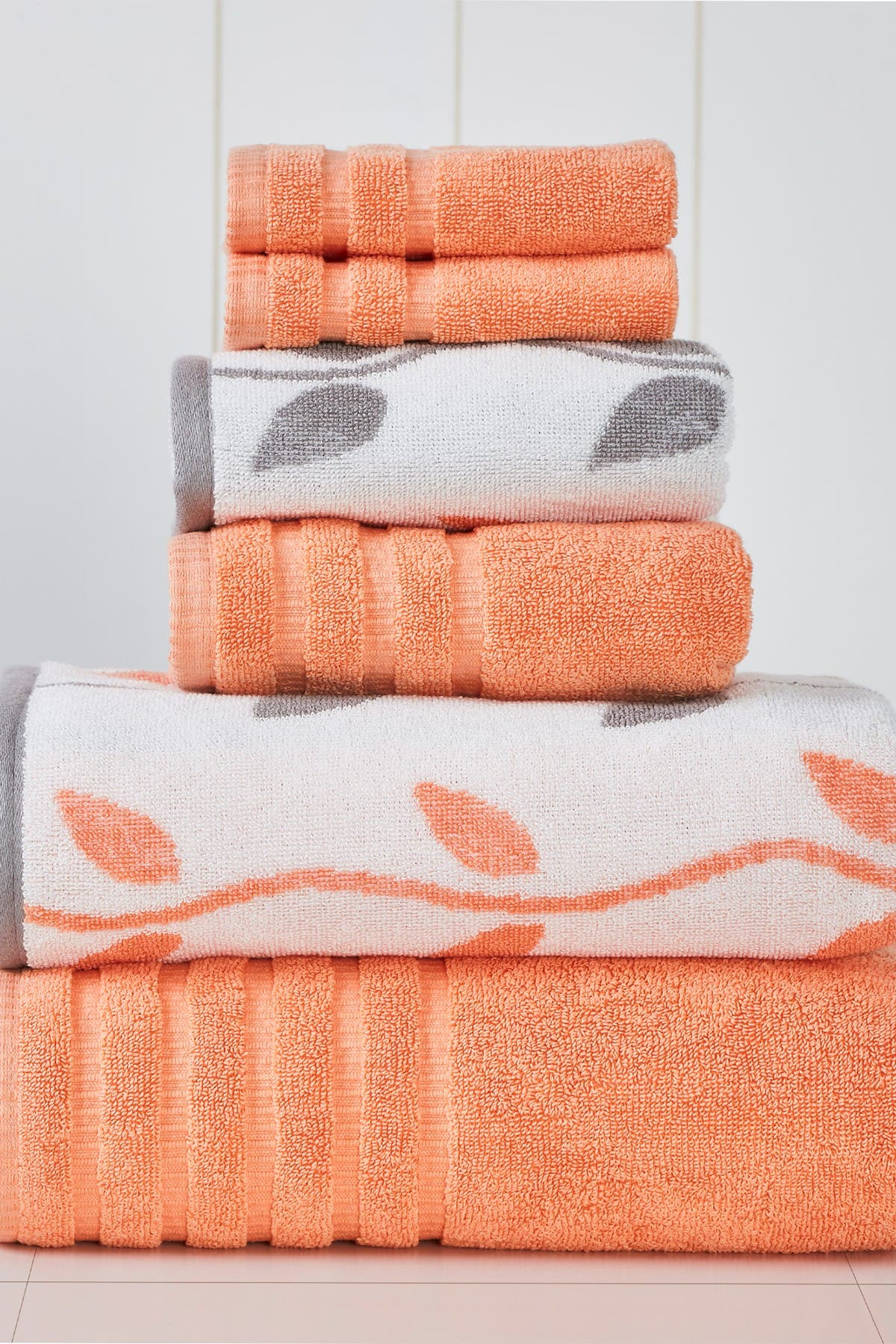 Image of Modern Threads Yard Dyed Towel 6-Piece Set - Organic Vines Coral