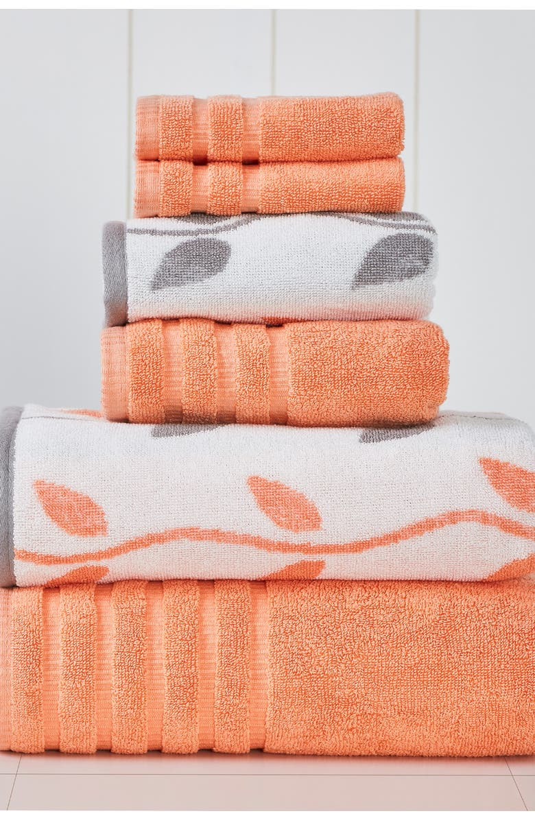 MODERN THREADS Yard Dyed Towel 6-Piece Set - Organic Vines Coral, Main, color, CORAL