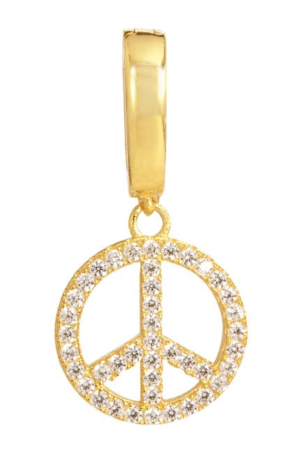 Image of Savvy Cie 18K Yellow Gold Vermeil Pave CZ Peace Sign Charm