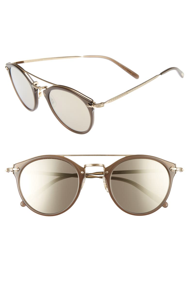 OLIVER PEOPLES Remick 50mm Brow Bar Sunglasses, Main, color, BEIGE