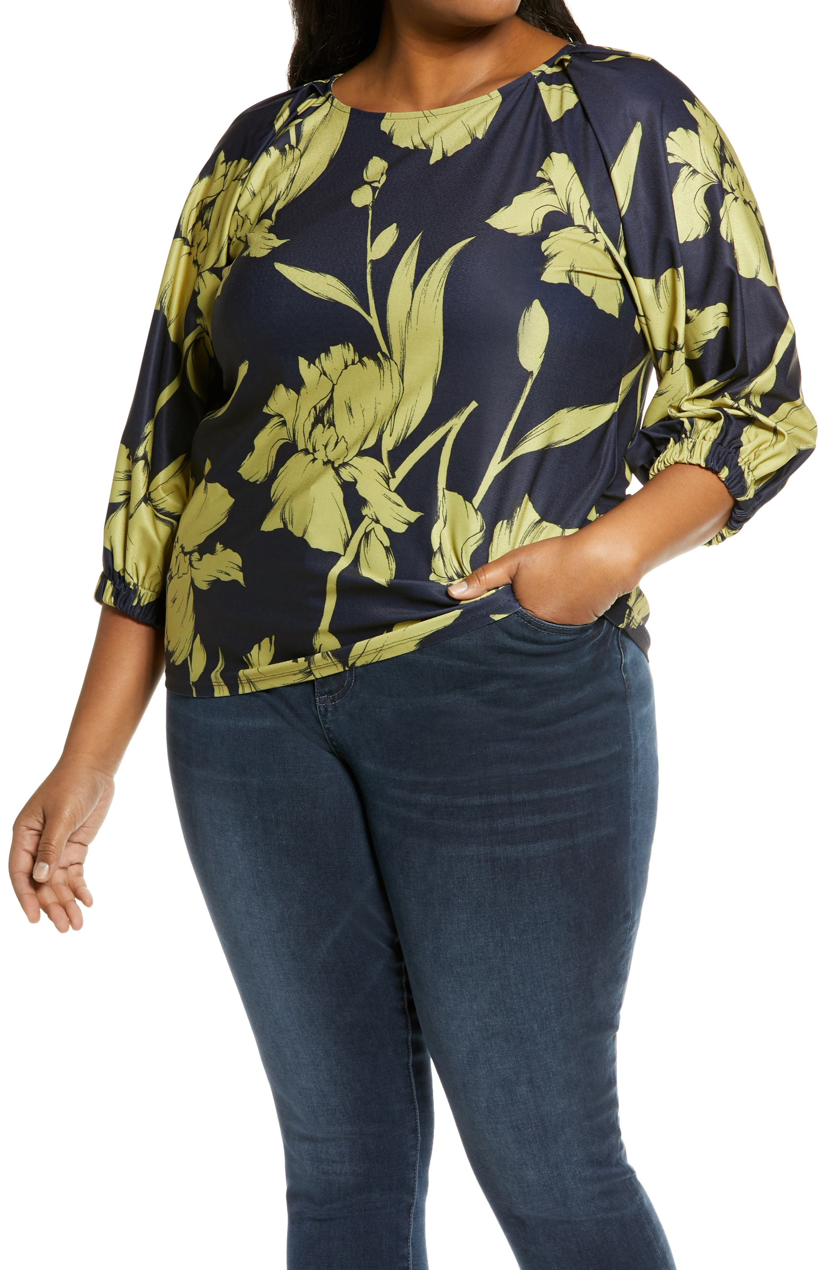 Billowed sleeves frame this flowy knit top that\\\'s versatile and charming any day of the week. Style Name: Halogen Balloon Sleeve Knit Top (Plus Size). Style Number: 6013432. Available in stores.