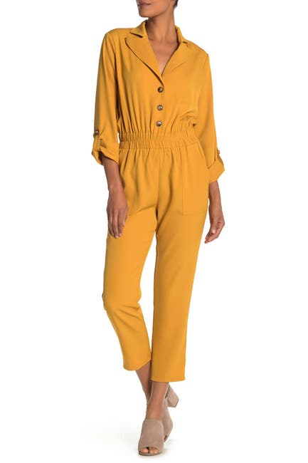 Image of ONE ONE SIX Notch Collar Roll Sleeve Jumpsuit