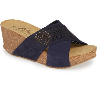 Bos. & Co. Lomi Platform Wedge Slide Sandal - Blue
