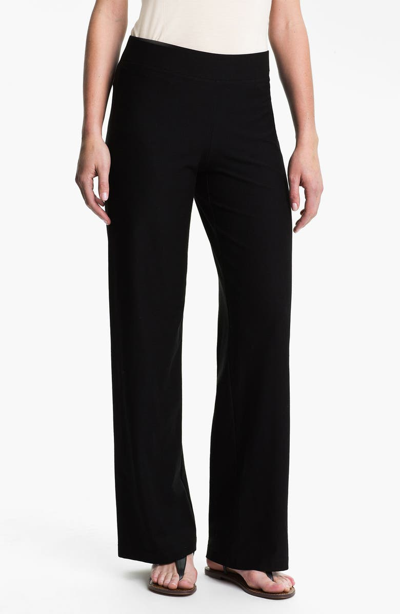 EILEEN FISHER Wide Leg Knit Pants, Main, color, 001