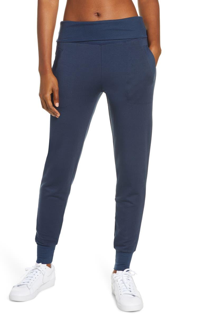 BEYOND YOGA Cozy Fleece Sweatpants, Main, color, NOCTURNAL NAVY