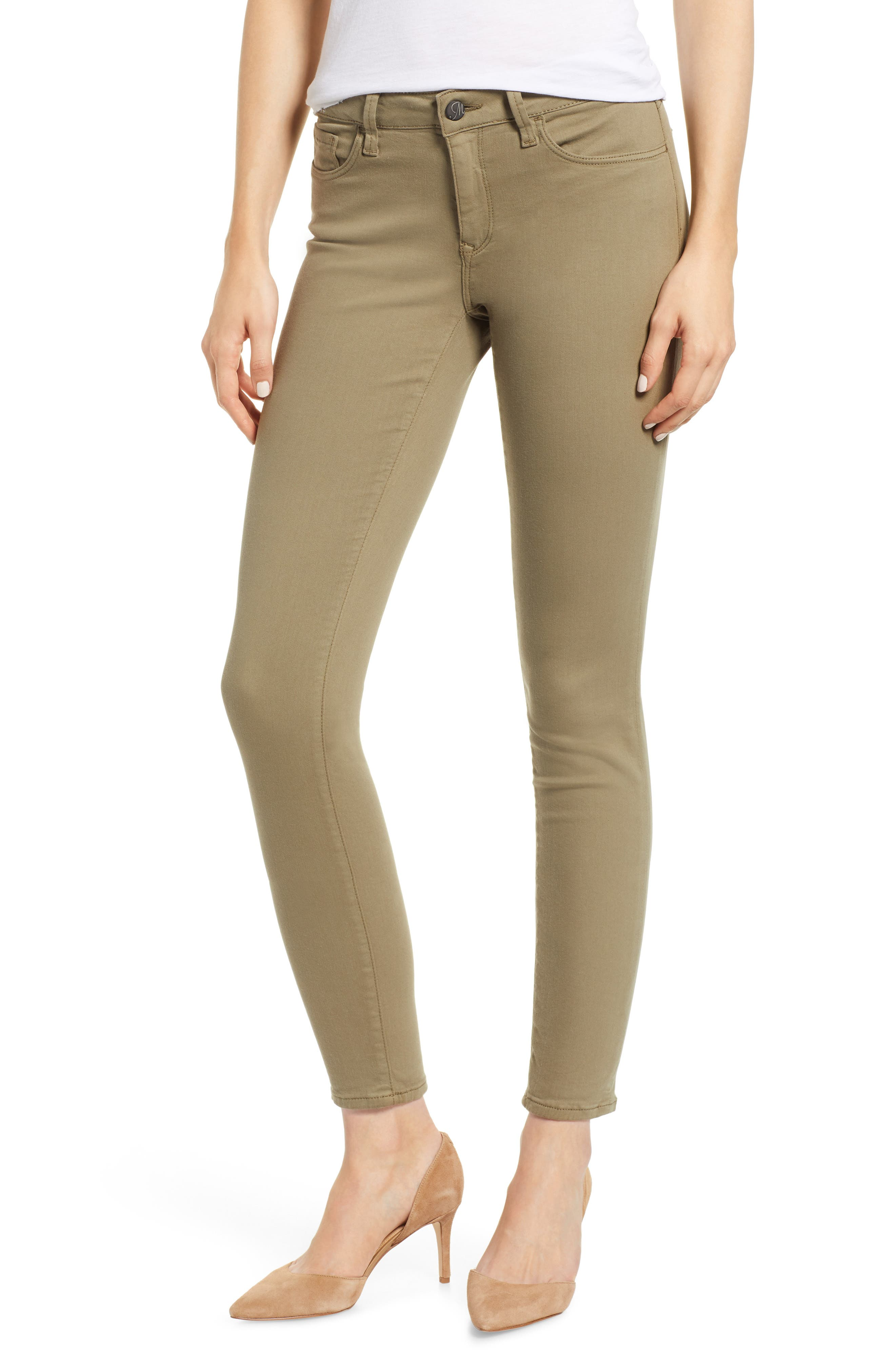 Adriana Ankle Skinny Fit Pants, Main, color, DUSKY GREEN TWILL
