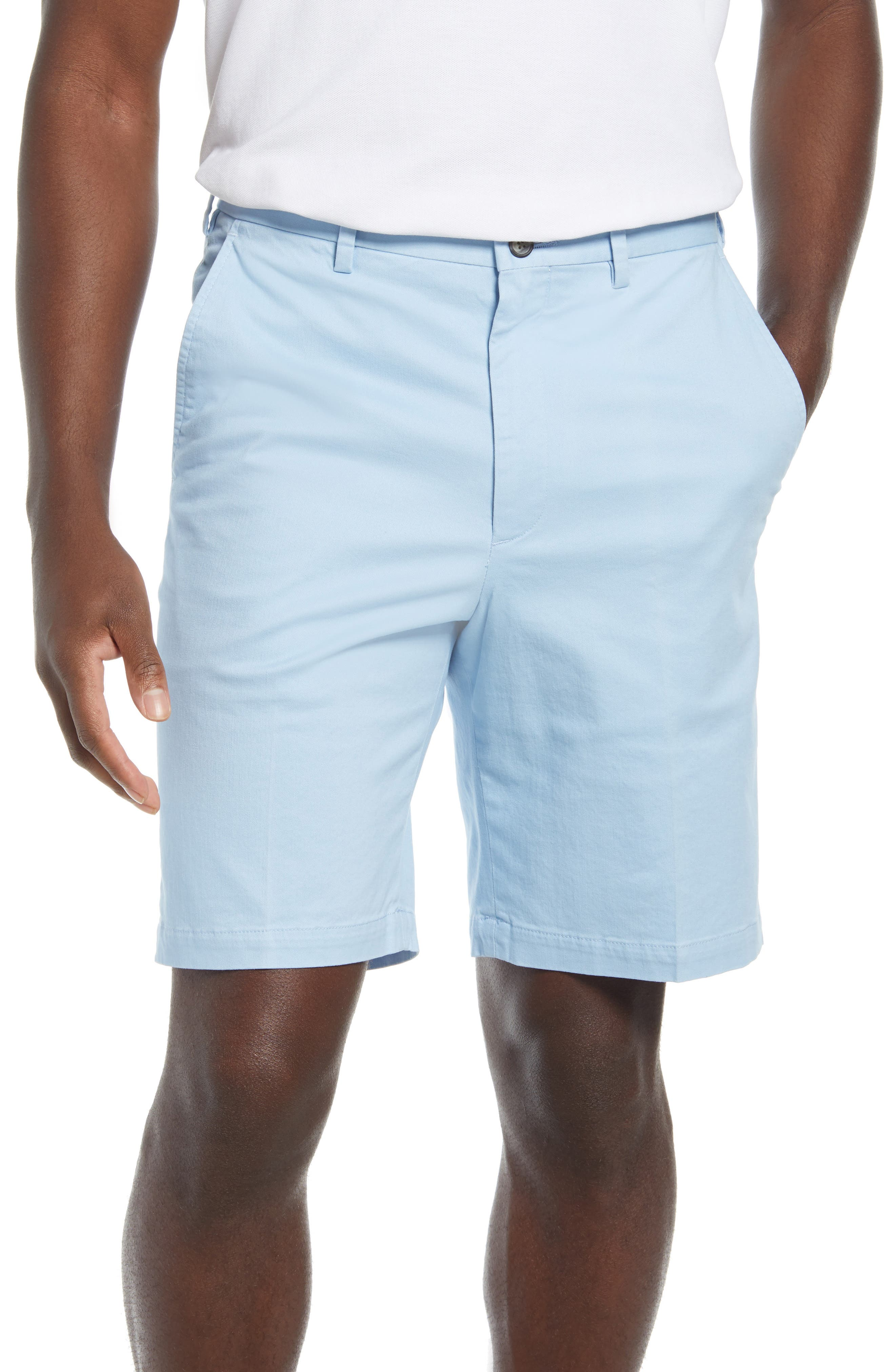 Vintage Style Mens Shorts Mens Vintage 1946 Mens Classic Flat Front Chino Shorts Size 40 - Blue $85.00 AT vintagedancer.com