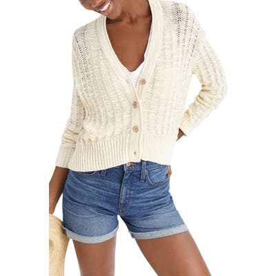 J.crew Point Sur Textured V-Neck Cardigan, Beige