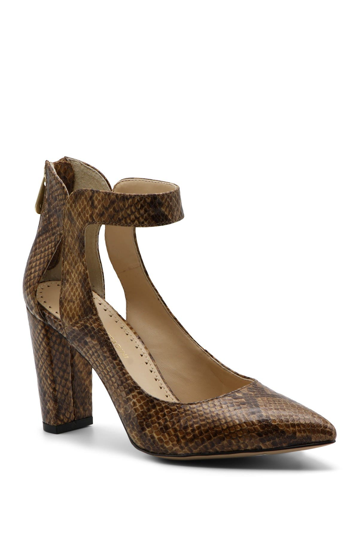 Image of Adrienne Vittadini Nieves Snake Print Ankle Strap Pump