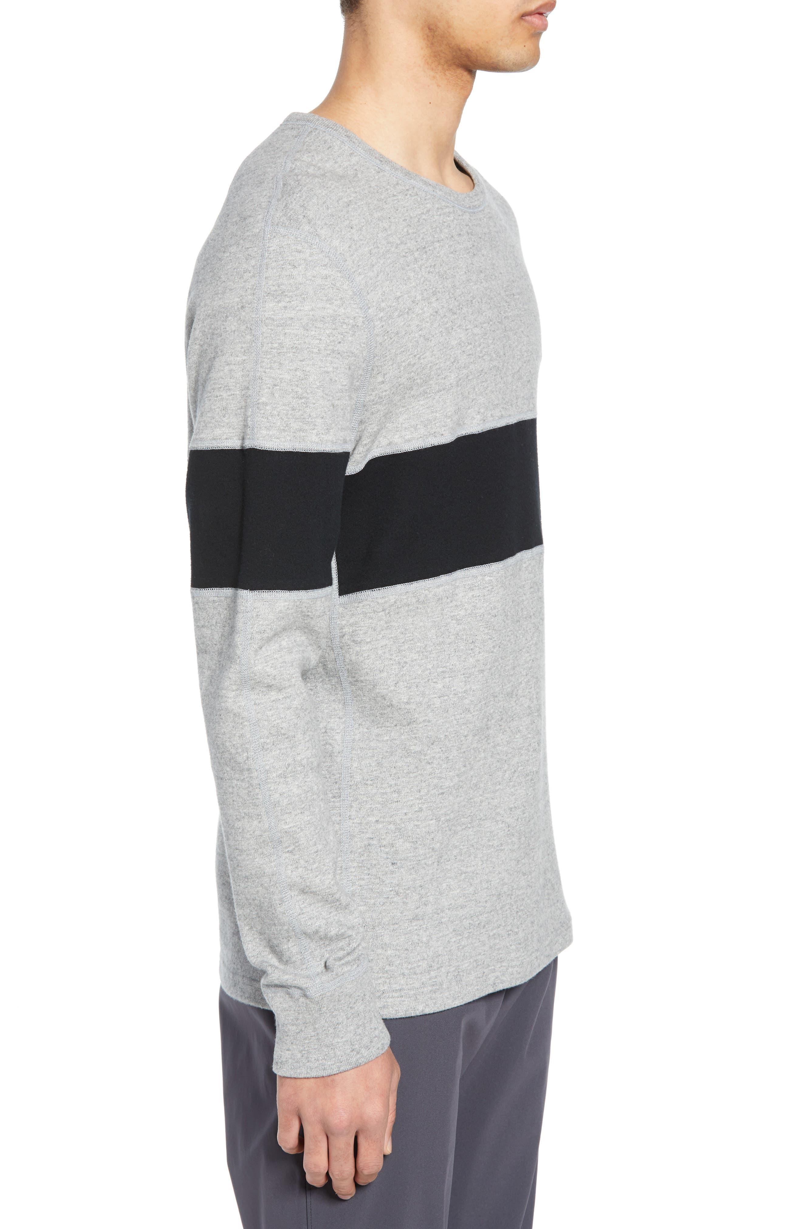 ,                             Rugby Crewneck Sweatshirt,                             Alternate thumbnail 3, color,                             MEDIUM GREY/ BLACK