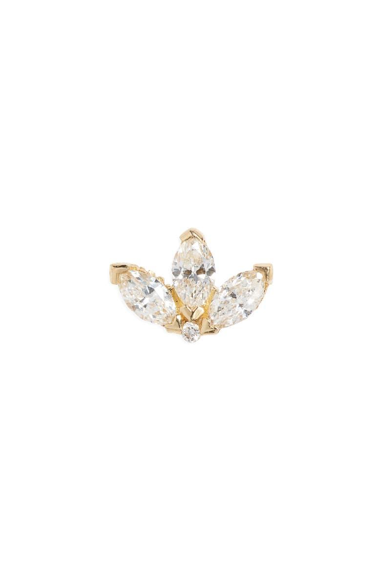 MARIA TASH Diamond Lotus Stud Earring, Main, color, YELLOW GOLD/ DIAMOND