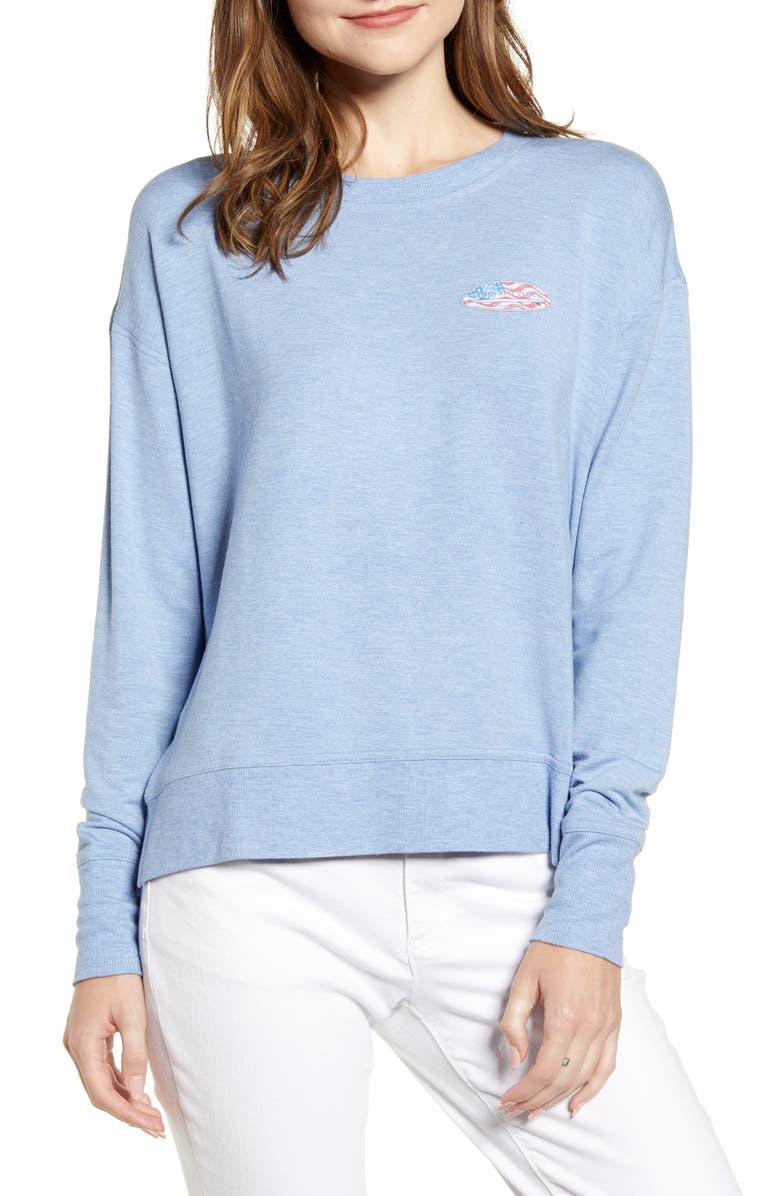 VINEYARD VINES Surf Flag Crewneck Sweatshirt, Main, color, HYDRANGEA