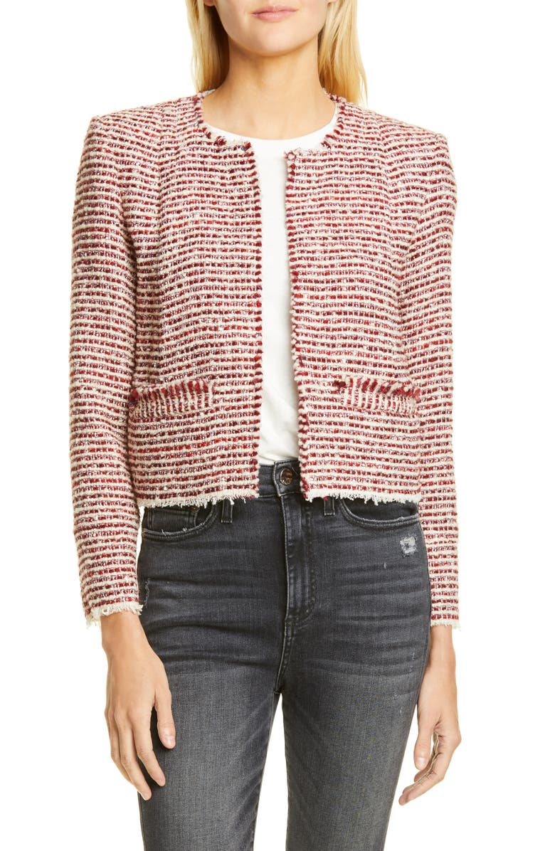 IRO Riona Tweed Jacket, Main, color, RED