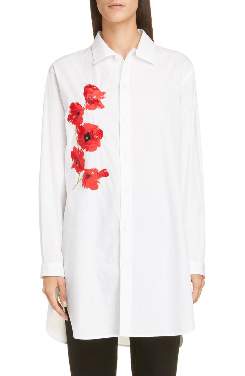 Y'S BY YOHJI YAMAMOTO Embroidered Poppy Shirt, Main, color, 100
