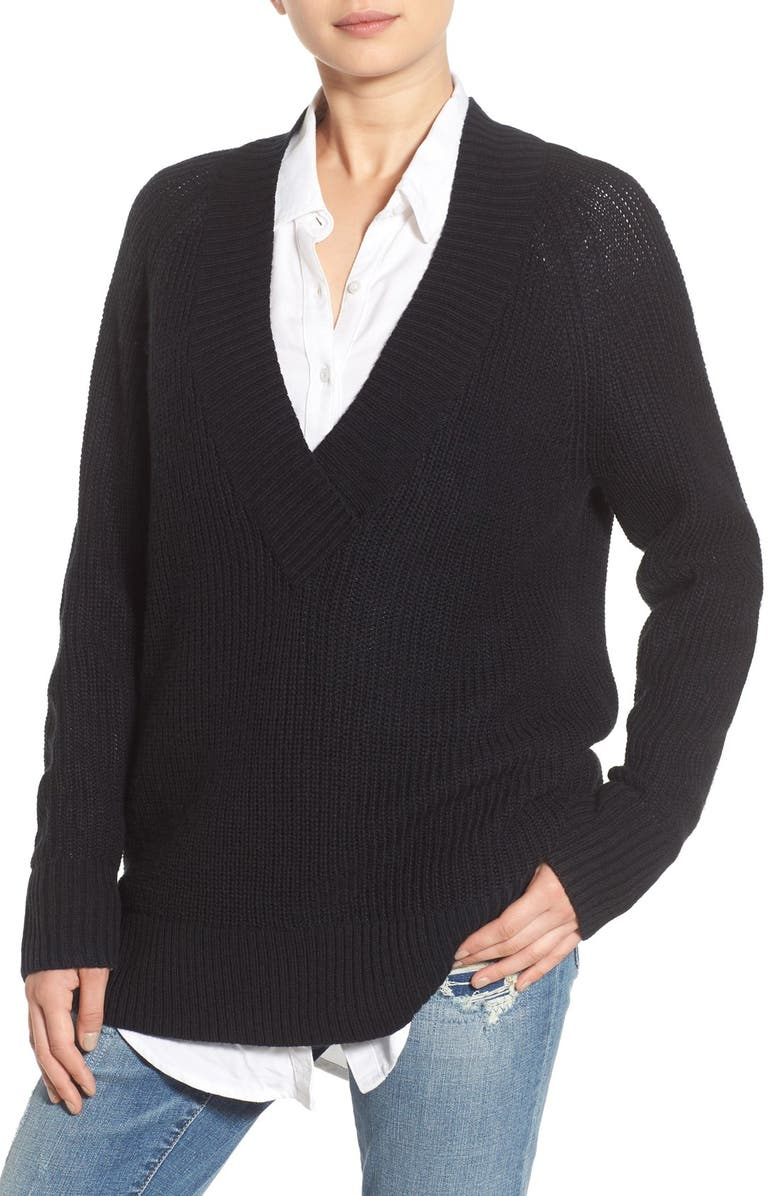BP. Deep V-Neck Pullover, Main, color, 001
