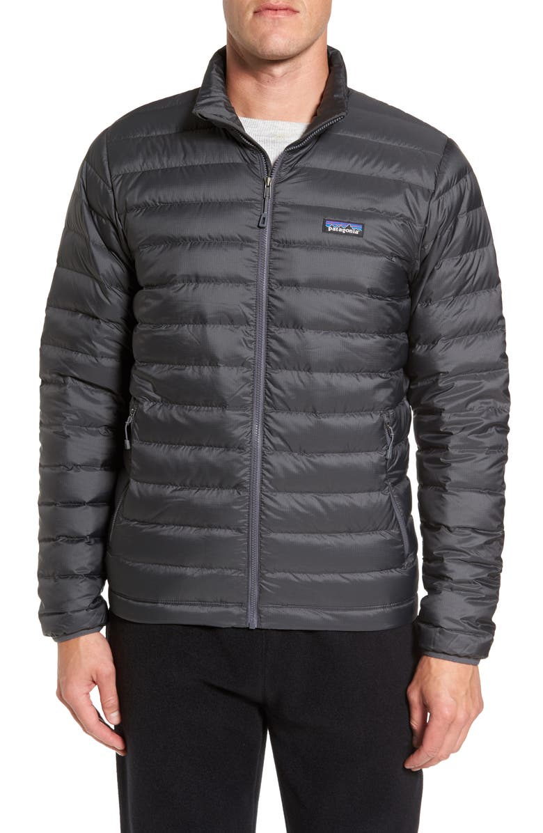 PATAGONIA Water Repellent Down Jacket, Main, color, FORGE GREY W/ FORGE GREY