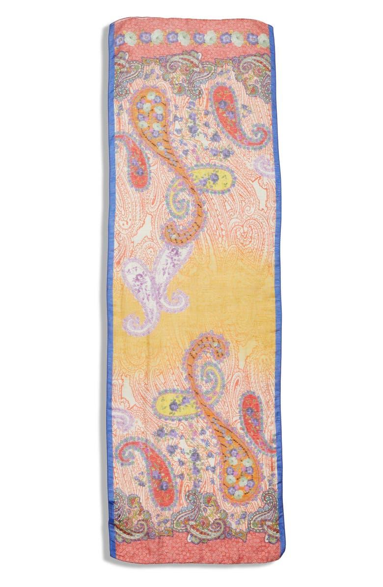 ETRO Print Oblong Linen & Silk Scarf, Main, color, 800