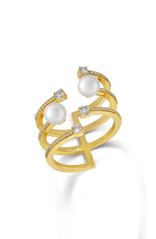Hueb Spectrum Three-row Pearl Ring In Yellow Gold