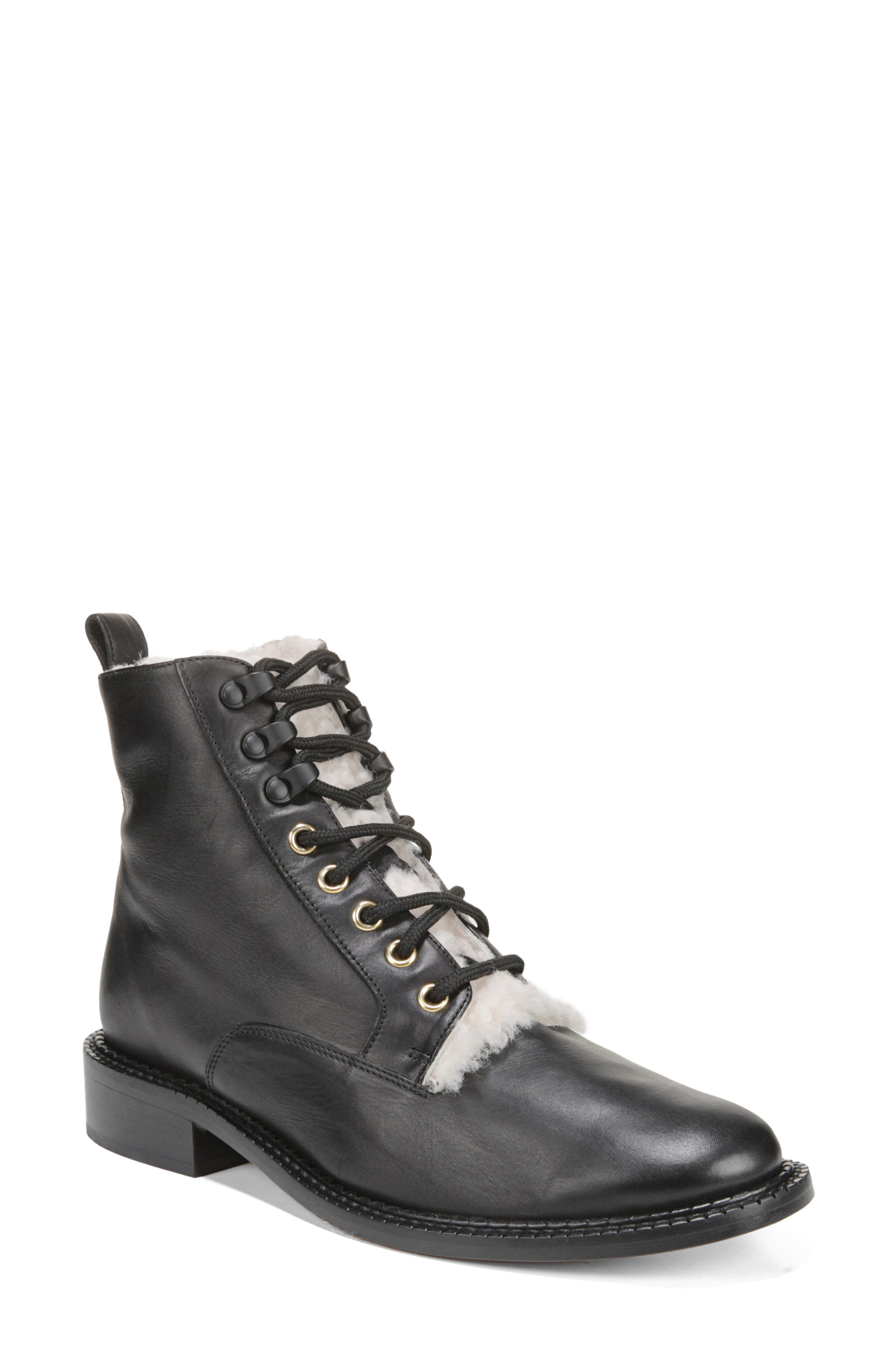History of Victorian Boots & Shoes for Women Womens Vince Cabria 3 Genuine Shearling Lined Combat Boot Size 9.5 M - Black $450.00 AT vintagedancer.com